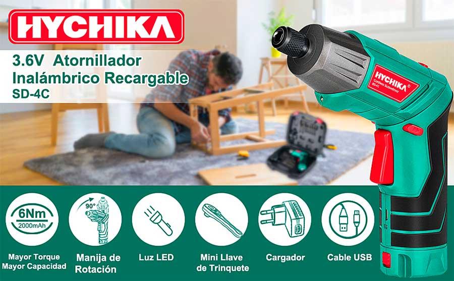 Atornillador Eléctrico HYCHIKA Inalámbrico Luz LED